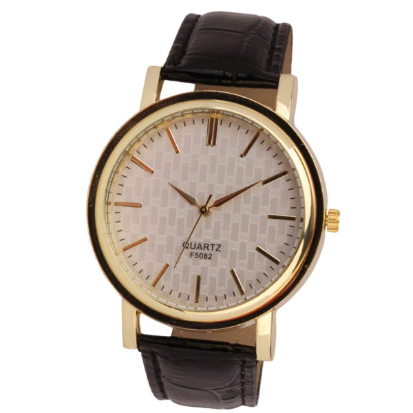 Gold Dial Leather Analog Quartz Watch