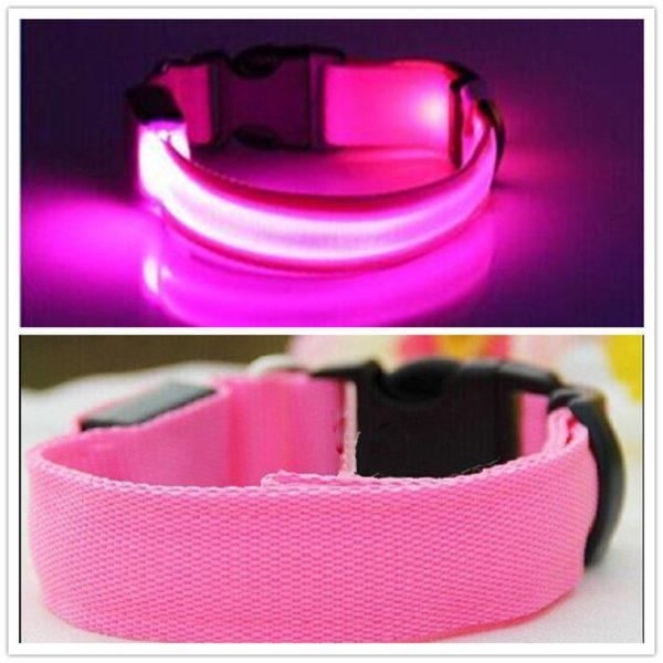 LED Dog Safety Collar Pink