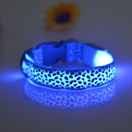 LED Leopard Collar BLUE Large
