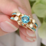 Gold Sapphire Cluster Ring