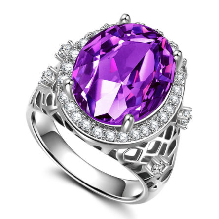 Oval Cut Amethyst Silver Ring