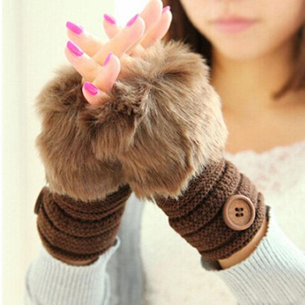 Rabbit Fur Fingerless Gloves