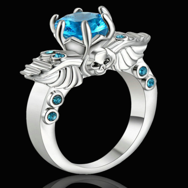 Winged Skull Blue Sapphire Ring