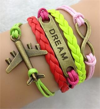 Aircraft Dream Leather Charm Bracelet
