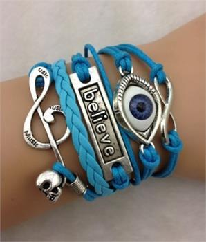 Believe Leather Charm Bracelet