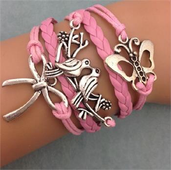 Butterfly Dove Leather Charm Bracelet
