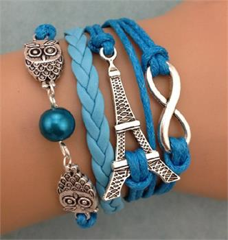 Eiffel Tower Leather Charm Bracelet