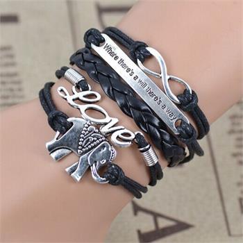 Elephant LOVE Leather Charm Bracelet