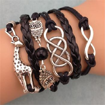 Giraffe Owl Leather Charm Bracelet