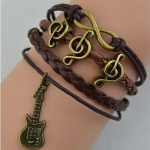 Guitar Music Leather Charm Bracelet