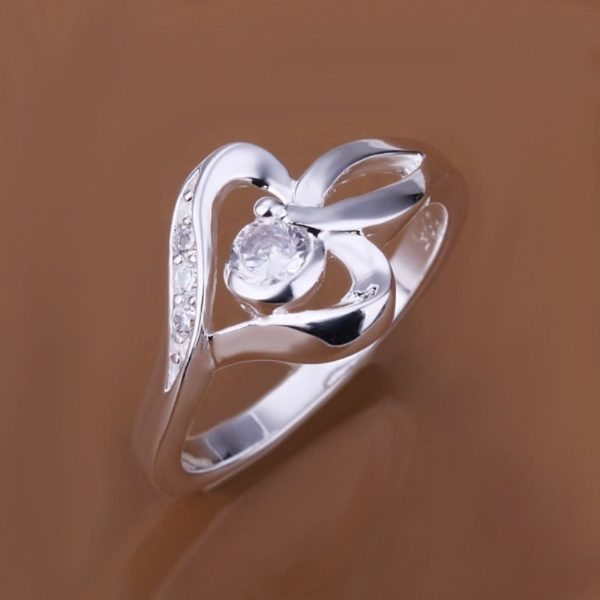 Heart n Gemstone Silver Ring