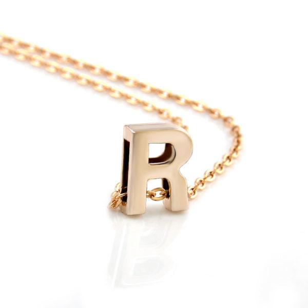 Letter R Pendant Chain Necklace