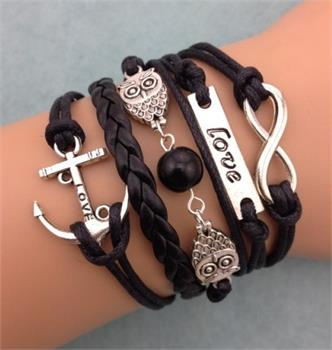 Love Anchor Leather Charm Bracelet