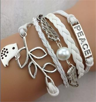Peace Leather Charm Bracelet