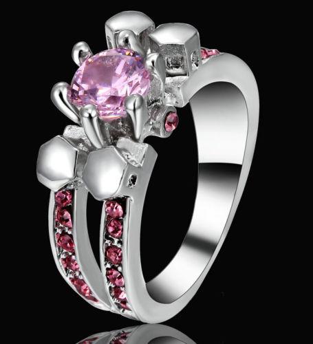 Pink Skull Silver Ring