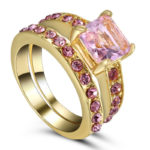 Pink Topaz Ring Set