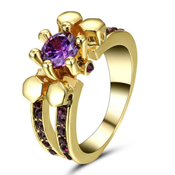 Purple Amethyst Skull Ring