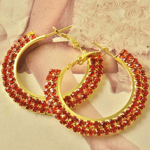 Red Cubic Zirconia Hoop Earrings
