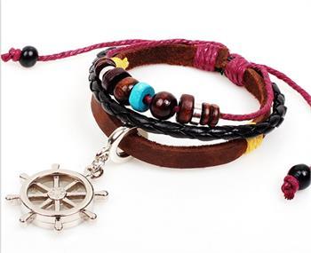 Ships Wheel Beaded Leather Charm Bracelet