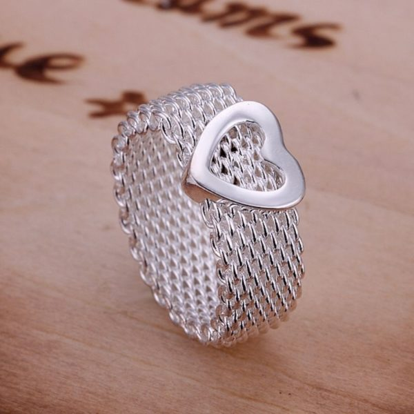 Silver Heart Weave Band Ring