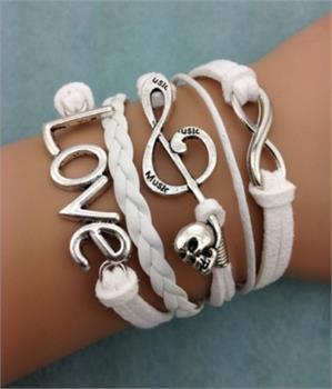 Skull Note Love Leather Charm Bracelet