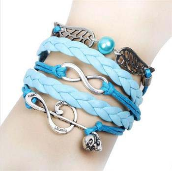 Skull Note Wing Leather Charm Bracelet