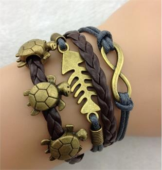 Turtle Fish Leather Charm Bracelet