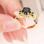 Winged Skull Black Crystal Ring