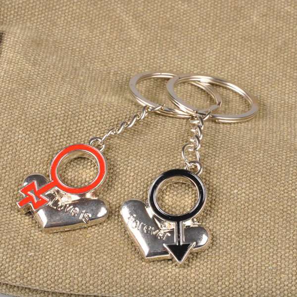 Him & Her Lovers Heart Keychains